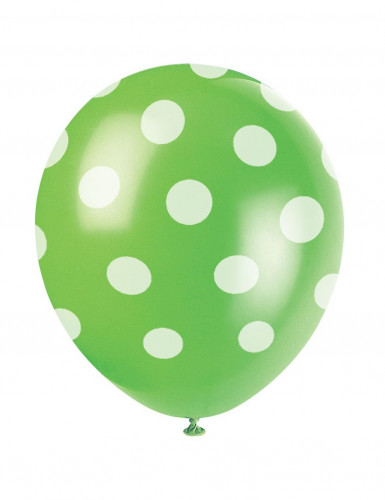 6 grüne Luftballons mit weißen Punkten