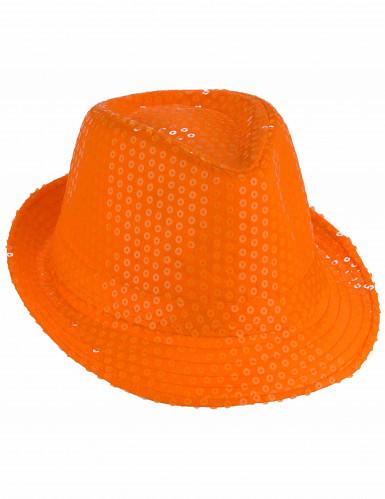 Orangefarbener Paillettenhut für Erwachsene