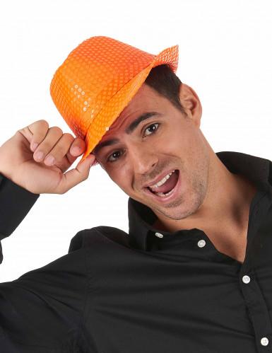 Orangefarbener Paillettenhut für Erwachsene-1