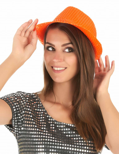 Orangefarbener Paillettenhut für Erwachsene-2