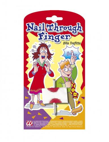 Blutiger Nagel durch Finger - Scherzartikel
