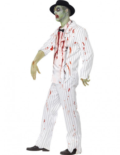 Weißes Zombie-Gangster Halloween Kostüm für Männer-1