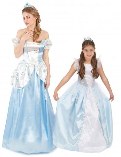 Blaues Prinzessin-Kostüm Set Mutter-Tochter