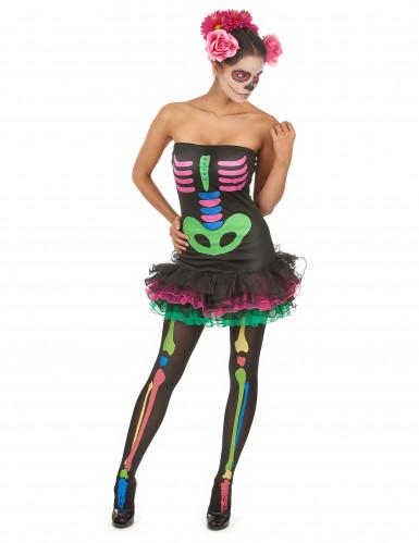 Halloween Skelett-Kostüm für Damen farbig