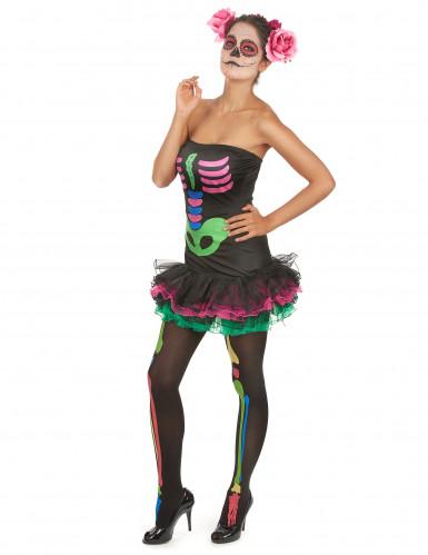 Halloween Skelett-Kostüm für Damen farbig-2