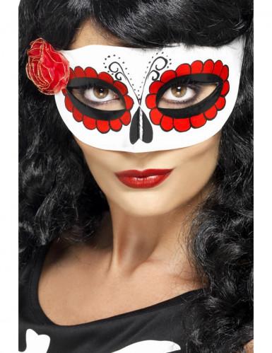 Farbige Halbmaske mit kleiner Rose für Damen