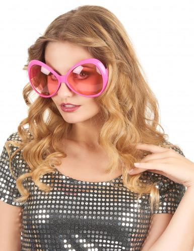 70er Disco Brille in rosa für Erwachsene-1