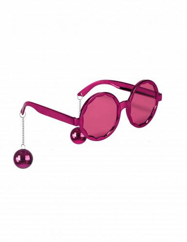 Witzige Disco Brille rosa für Erwachsene