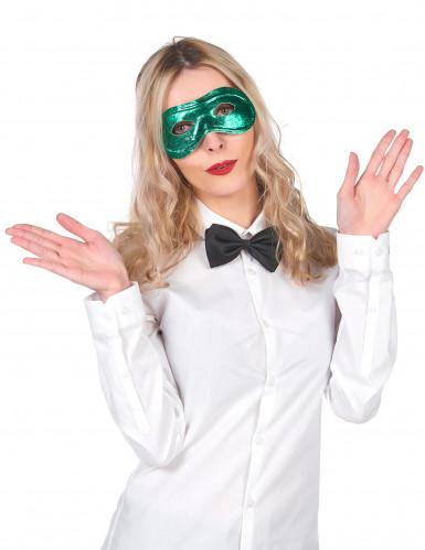 Metallische Halbmaske grün für Erwachsene