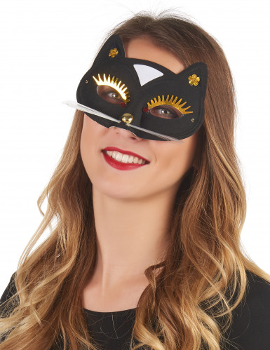 Schwarze Katzen Halbmaske für Erwachsene
