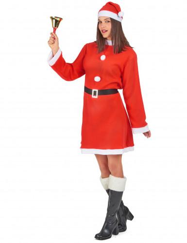 Damenkostüm Weihnachtsfrau mit Pompons-1