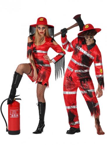 Zombie-Feuerwehrmann-Paarkostüm für Erwachsene