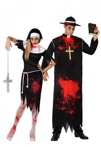 Zombie Paarkostüm Nonne und Priester für Erwachsene