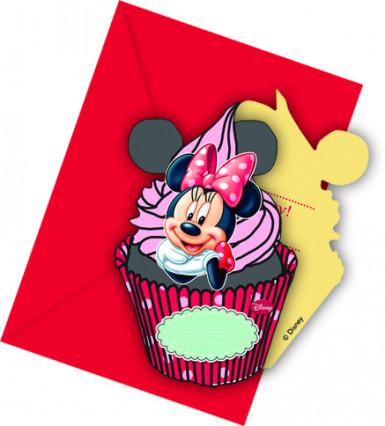 6 Minnie Maus™ Einladungskarten