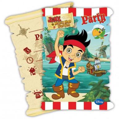 6 Partyeinladungskarten Jake und die Piraten