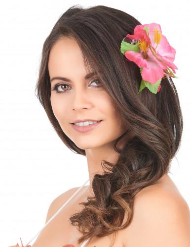Haarklammer Hawaii mit rosa Blumen
