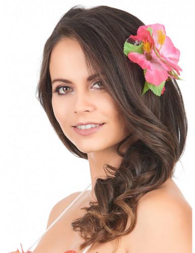 Haarklammer Hawaii mit rosa Blumen-1