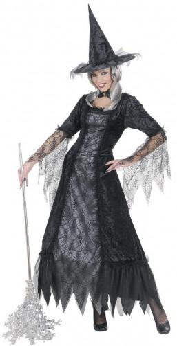 Halloween Hexen-Kostüm mit Spinnweben für Damen