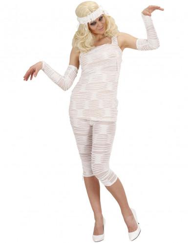 Mumien-Kostüm Halloween für Damen weiss