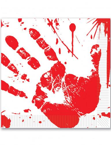 16 Halloween Papierservietten Blutende Hand 33 x 33 cm