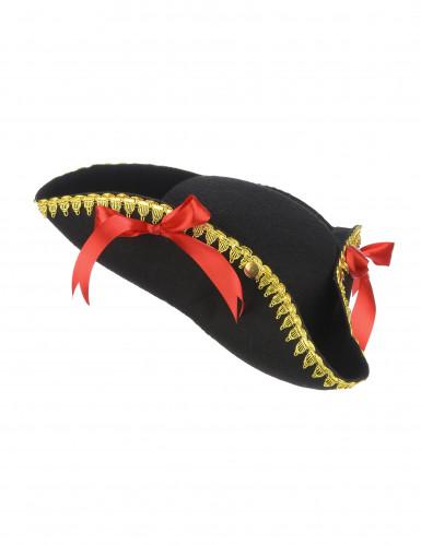 Dreispitz-Hut mit roten Schleifen für Damen