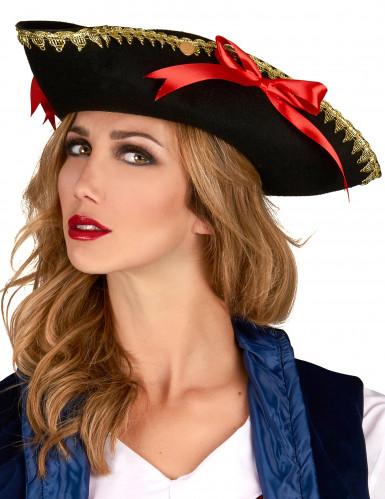 Dreispitz-Hut mit roten Schleifen für Damen-1