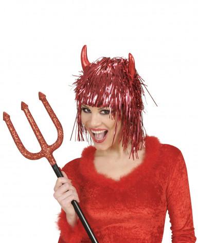 Metallic rote Teufels-Perücke für Erwachsene Halloween