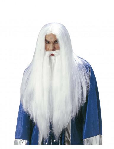 Zauberer-Perücke mit Bart für Erwachsene
