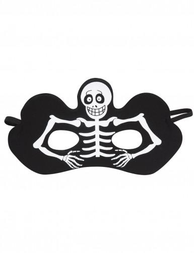 Skelett Halbmaske schwarz für Erwachsene Halloween