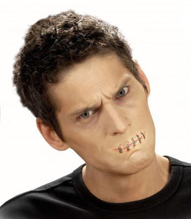 Falsche Wunde zugenähter Mund Halloween für Erwachsene