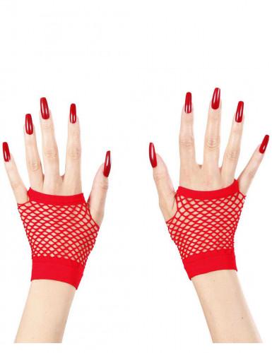 Rote Netz-Halbhandschuhe für Erwachsene