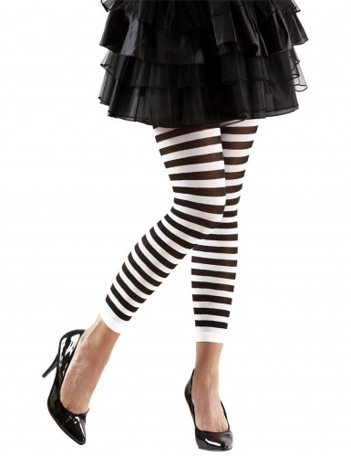 Gestreifte Leggings schwarz-weiß für Erwachsene