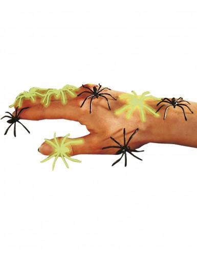 Falsche Halloween-Spinnen Schwarz und phosphoreszierend