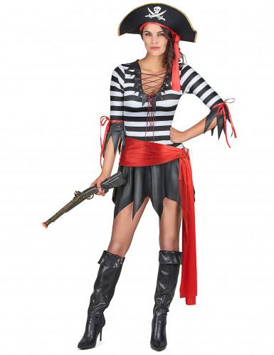 Gestreiftes Piratenkostüm für Damen schwarz-weiss-rot
