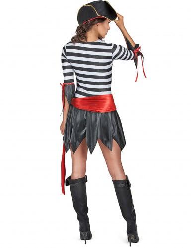 Gestreiftes Piratenkostüm für Damen schwarz-weiss-rot-2