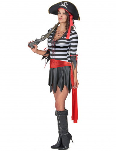 Gestreiftes Piratenkostüm für Damen schwarz-weiss-rot-1