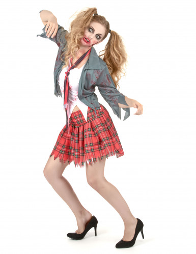 Schulmädchen Halloween Zombiekostüm-1