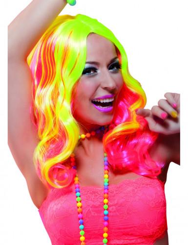 Rosa und neonfarbene Langhaar-Perücke für Damen
