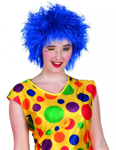 Clown Perücke knallblau für Erwachsene