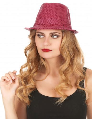 Glitzer Party Hut rosa mit Pailletten für Erwachsene-1