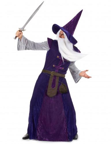 Lila Magier Hexenmeister Kostüm für Erwachsene-1