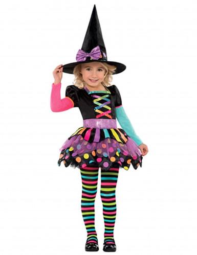 Buntes Hexenkostüm Happy Halloween für Mädchen