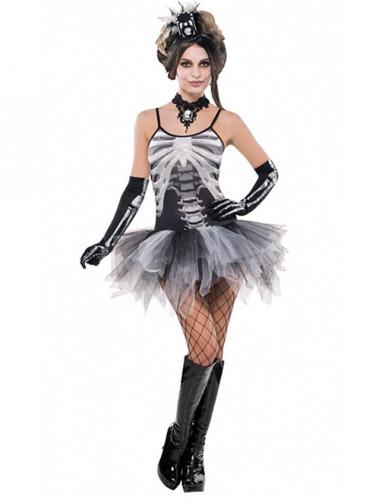 Skelett-Kostüm für Damen schwarz-weiss