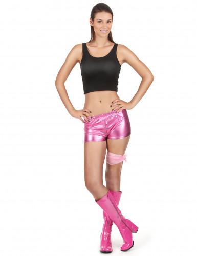 Rosa und glänzender Disco Shorty für Damen