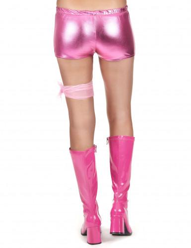 Rosa und glänzender Disco Shorty für Damen-2