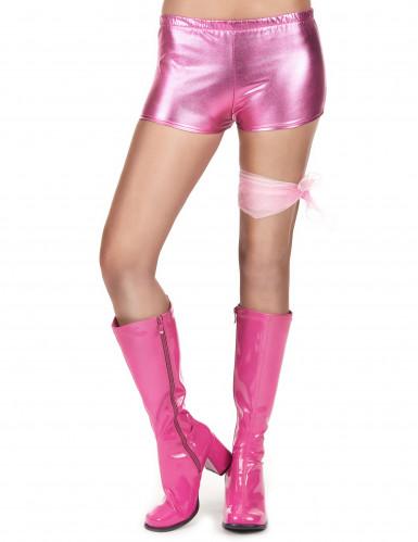 Rosa und glänzender Disco Shorty für Damen-1