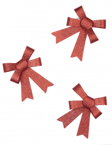 3 rote Glitzer-Schleifen