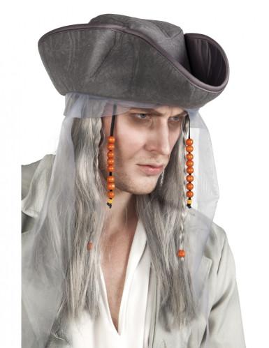 Graue Perücke eines Piraten für Männer