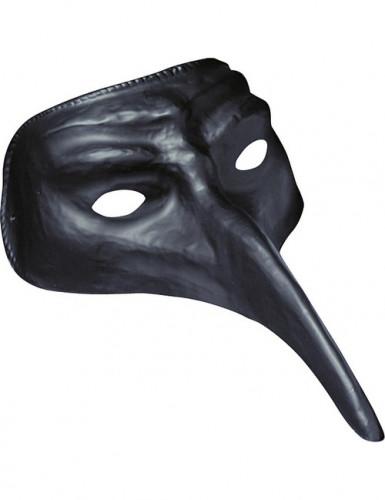 Schwarze Halbmaske mit langer Nase für Erwachsene
