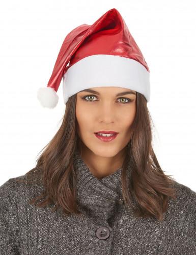 Rot-glänzende Weihnachtsmütze für Erwachsene-2
